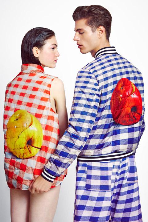 MSGM x Toiletpaper – kostkovaná vesta, bunda s motivem jablka, šortky