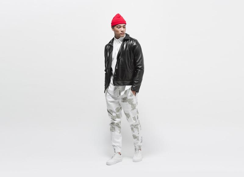 Publish – pánské bílé kalhoty se vzorem, joggers s gumou na nohavicích