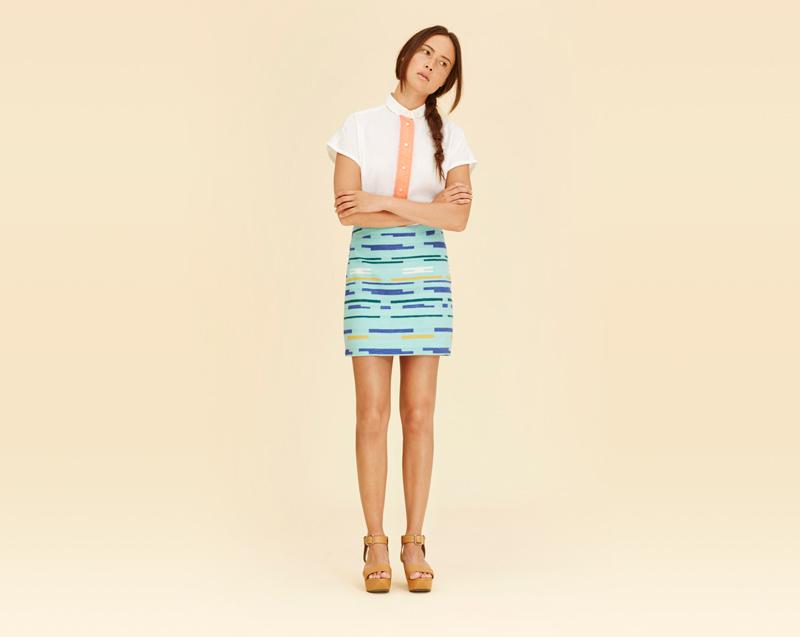 Libertine-Libertine – dámské oblečení – bílá košile – krátký rukáv, zelená krátká sukně