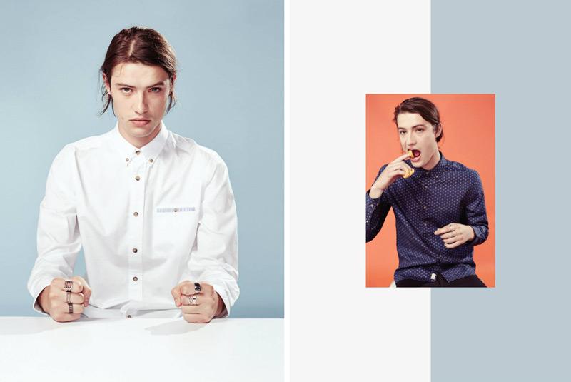 Huffer – steetové oblečení, pánská košile, bílá, modrá