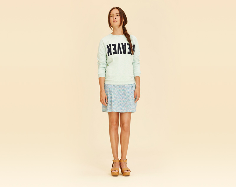 Libertine-Libertine – dámské oblečení – zelená mikina, sukně se vzorem