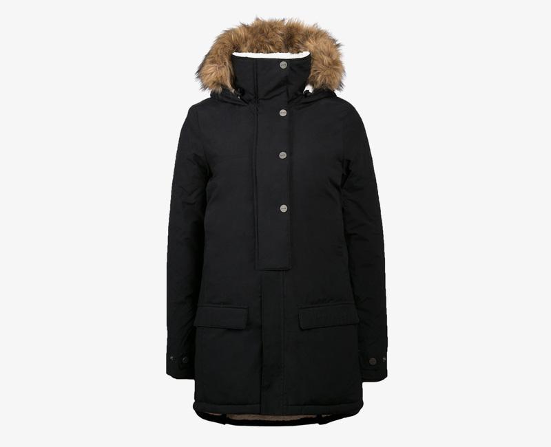 Mazine – Denver – dámská dlouhá zimní bunda s kapucí s kožíškem, zimní parka, černá | Dámské zimní bundy a parky
