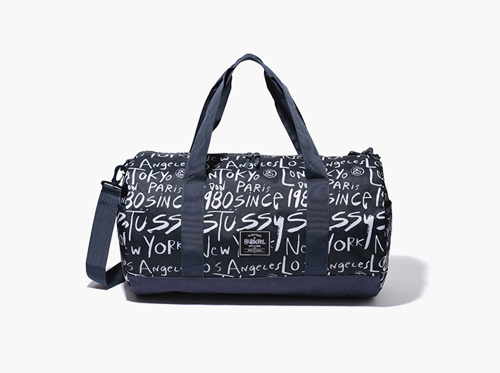 Herschel Supply x Stussy – batohy a tašky | Příruční plátěná stylová cestovní taška, černá