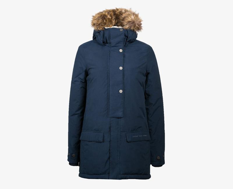 Mazine – Denver – dámská dlouhá zimní bunda s kapucí s kožíškem, zimní parka, modrá | Dámské zimní bundy a parky
