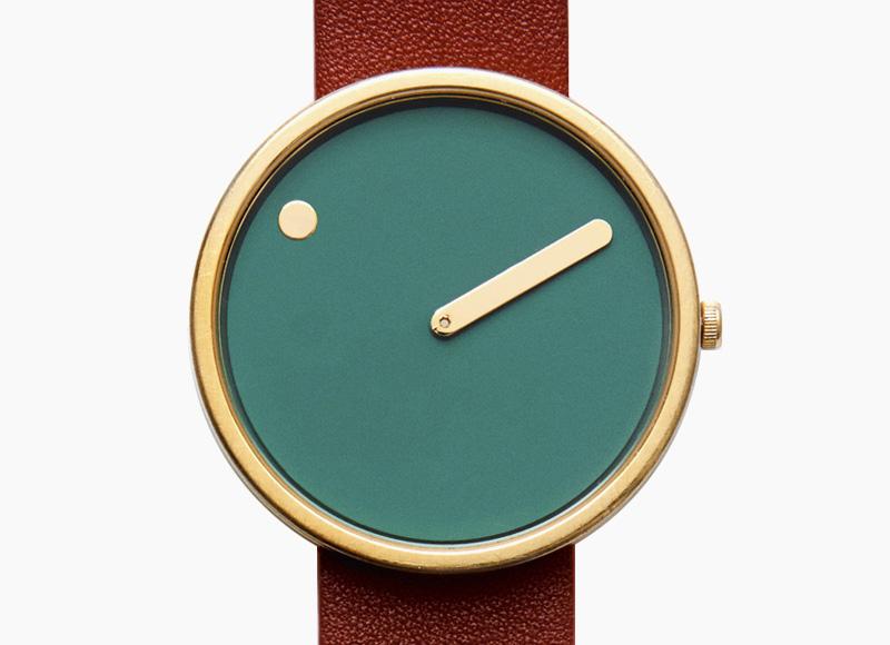 Rosendahl Picto – designové minimalistické hodinky, zelený ciferník, hnědý kožený náramek, náramkové, pánské a dámské
