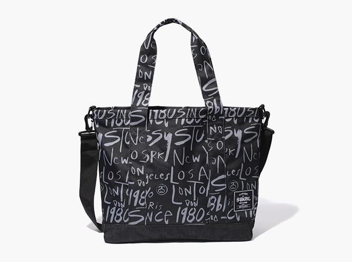 Herschel Supply x Stussy – batohy a tašky | Příruční plátěná městská taška s uchy, s popruhem přes rameno, černá