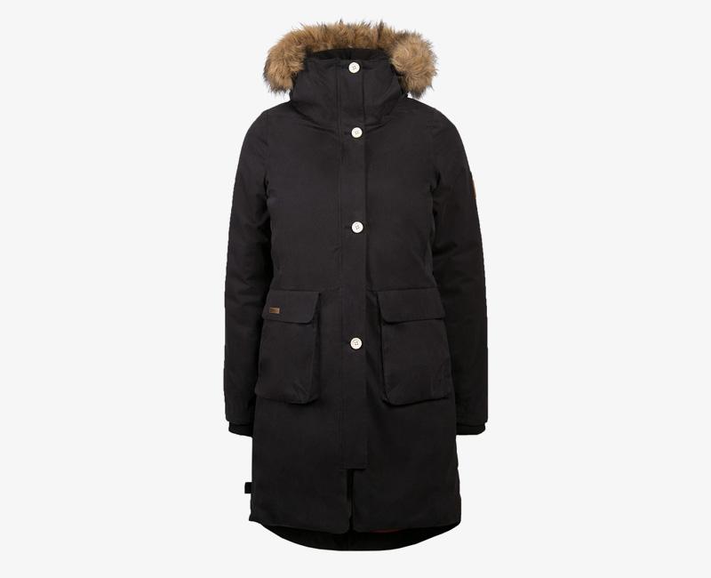 Mazine – Calgary – dámská dlouhá zimní bunda s kapucí s kožíškem, zimní parka, černá | Dámské zimní bundy a parky