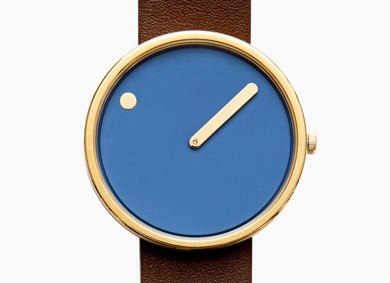 Rosendahl Picto – designové minimalistické hodinky, modrý ciferník, hnědé kožený náramek, náramkové, pánské a dámské