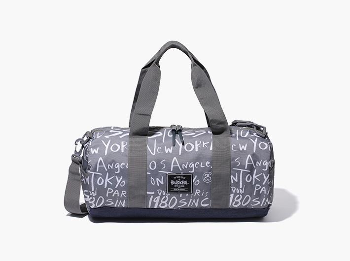 Herschel Supply x Stussy – batohy a tašky | Příruční plátěná stylová cestovní taška, šedá