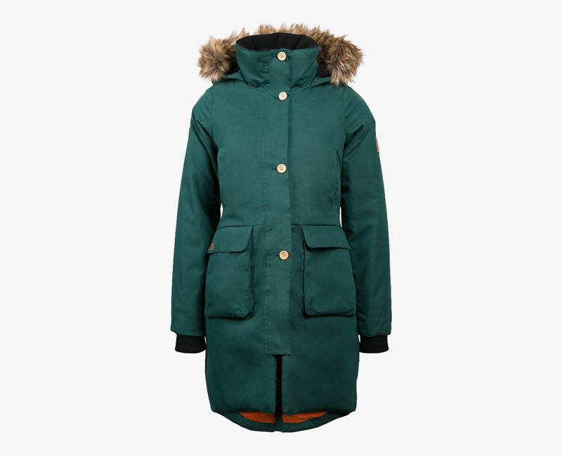 Mazine – Calgary – dámská dlouhá zimní bunda s kapucí s kožíškem, zimní parka, zelená | Dámské zimní bundy a parky