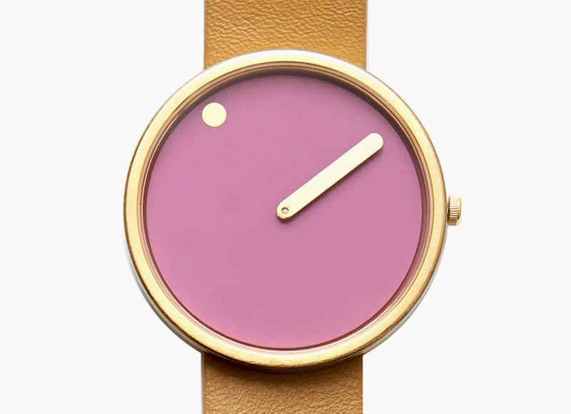 Rosendahl Picto – designové minimalistické hodinky, růžový ciferník, hnědý kožený náramek, náramkové, pánské a dámské