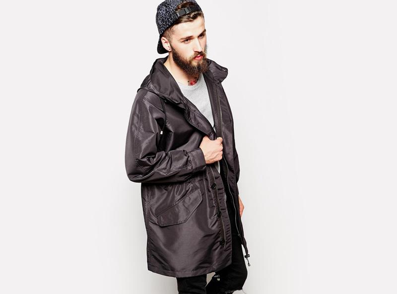 Asos Black – pánská podzimní parka, černá, podzimní dlouhá bunda