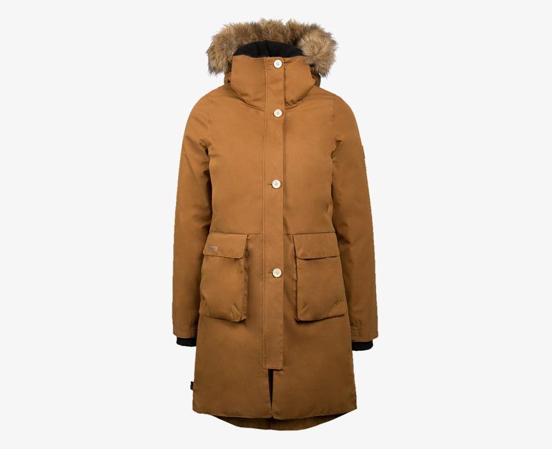 Mazine – Calgary – dámská dlouhá zimní bunda s kapucí s kožíškem, zimní parka, světle hnědá | Dámské zimní bundy a parky