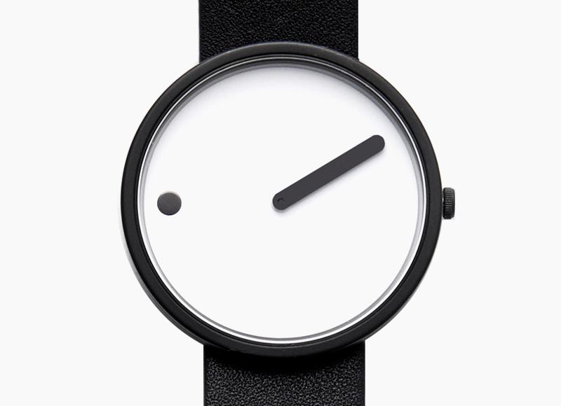 Rosendahl Picto – designové minimalistické hodinky, bílý ciferník, černý kožený náramek, hnědé, náramkové, pánské a dámské