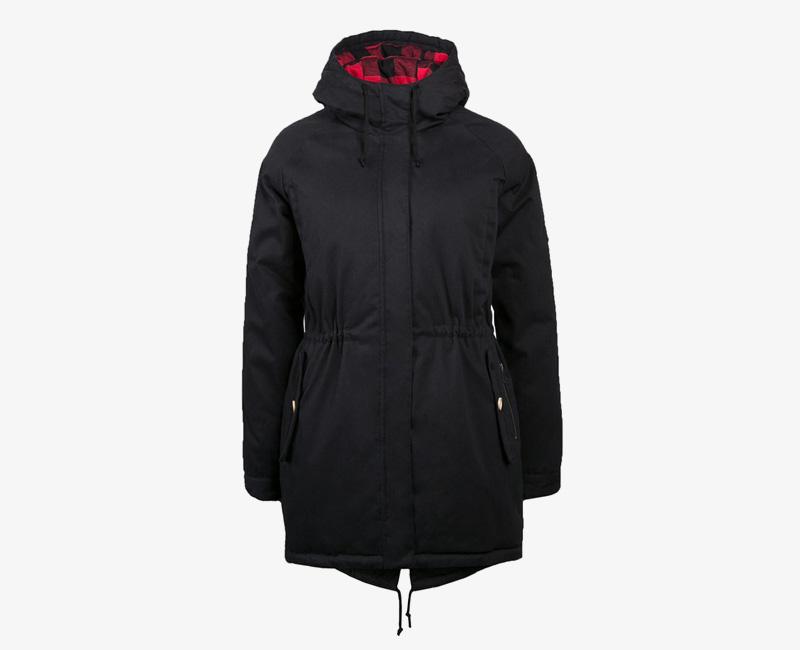 Mazine – Leeds – dámská dlouhá zimní bunda s kapucí, zimní parka s kožíškem, černá | Dámské zimní bundy a parky