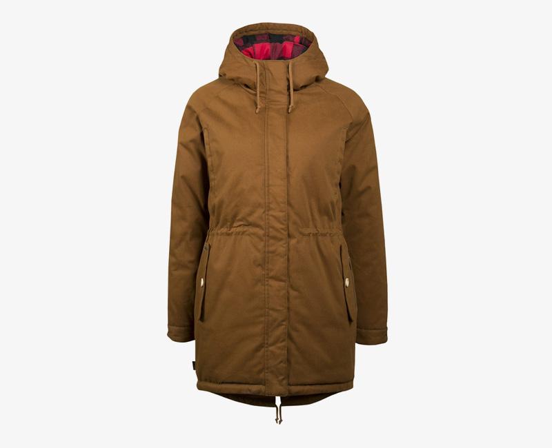 Mazine – Leeds – dámská dlouhá zimní bunda s kapucí, zimní parka s kožíškem, hnědá | Dámské zimní bundy a parky