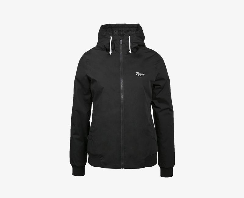 Mazine – Library – dámská krátká lehčí zimní bunda s kapucí, černá | Dámské zimní bundy a parky