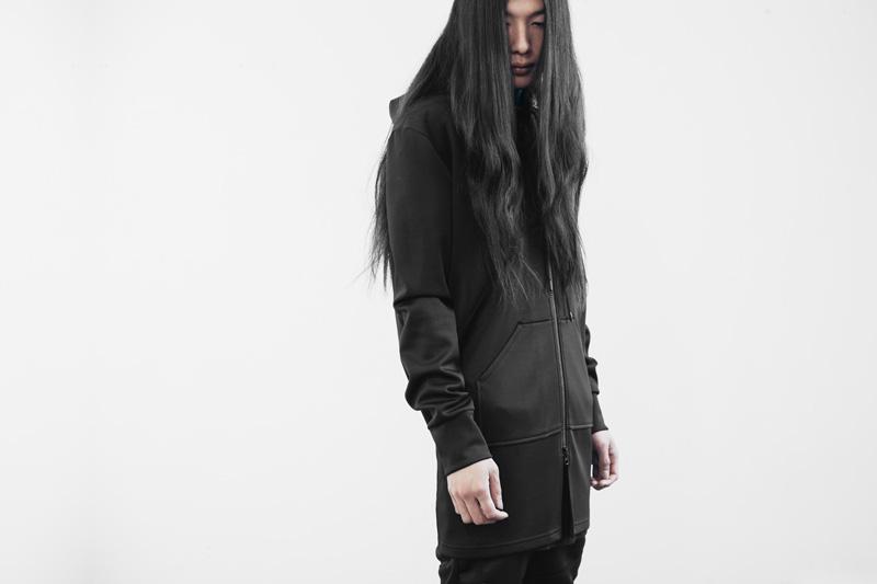 Represent Clothing – dlouhá černá mikina na zip s velkou kapucí, hoodie