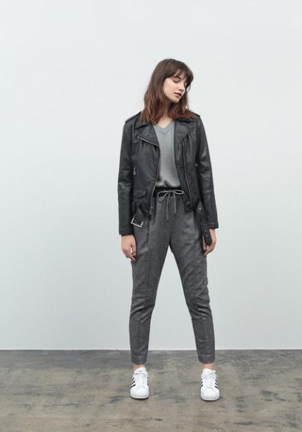 Stussy – dámská podzimní kožená bunda do pasu, šedé kalhoty – dámské