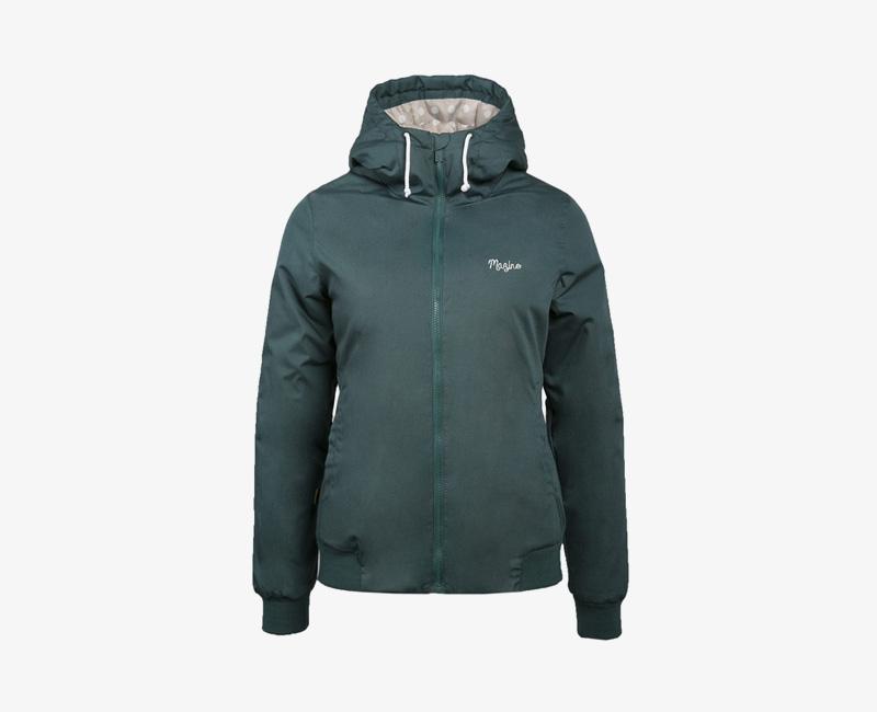 Mazine – Library – dámská krátká lehčí zimní bunda s kapucí, tmavě zelená | Dámské zimní bundy a parky