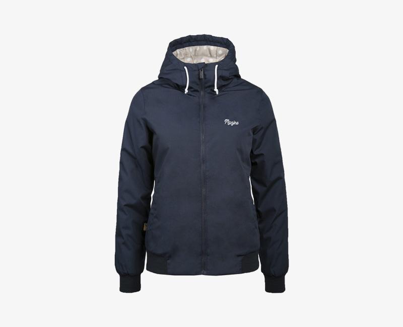 Mazine – Library – dámská krátká lehčí zimní bunda s kapucí, tmavě modrá | Dámské zimní bundy a parky