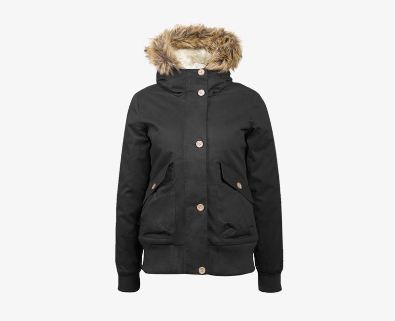 Mazine – Leigh – dámská krátká zimní bunda s kapucí, s kožíškem, černá | Dámské zimní bundy a parky