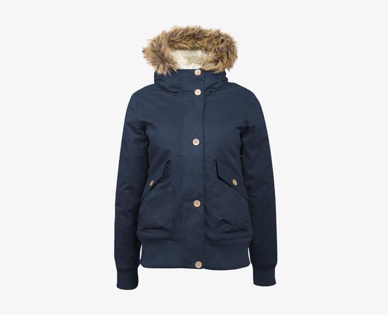 Mazine – Leigh – dámská krátká zimní bunda s kapucí, s kožíškem, tmavě modrá | Dámské zimní bundy a parky