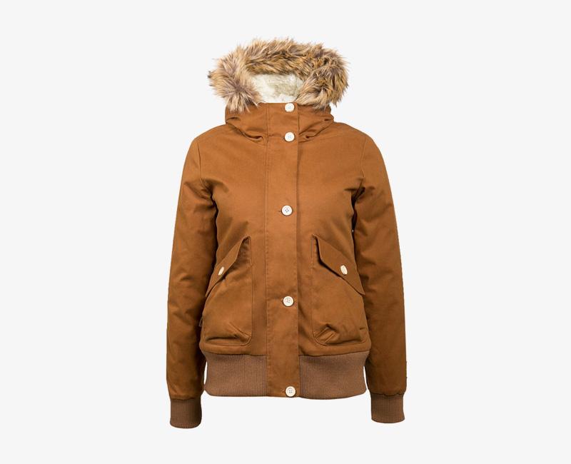 Mazine – Leigh – dámská krátká zimní bunda s kapucí, s kožíškem, světle hnědá | Dámské zimní bundy a parky