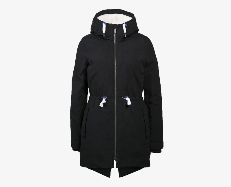 Mazine – Sensi – dámská dlouhá zimní bunda s kapucí, s kožíškem, zimní parka, černá | Dámské zimní bundy a parky