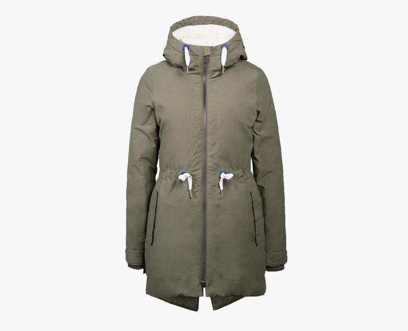 Mazine – Sensi – dámská dlouhá zimní bunda s kapucí, s kožíškem, zimní parka, olivová | Dámské zimní bundy a parky