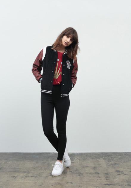 Stussy – černé legíny, černý bunda do pasu, bomber dámský, bomber jacket