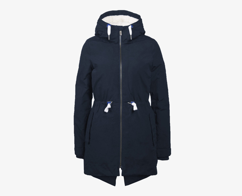 Mazine – Sensi – dámská dlouhá zimní bunda s kapucí, s kožíškem, zimní parka, tmavě modrá | Dámské zimní bundy a parky