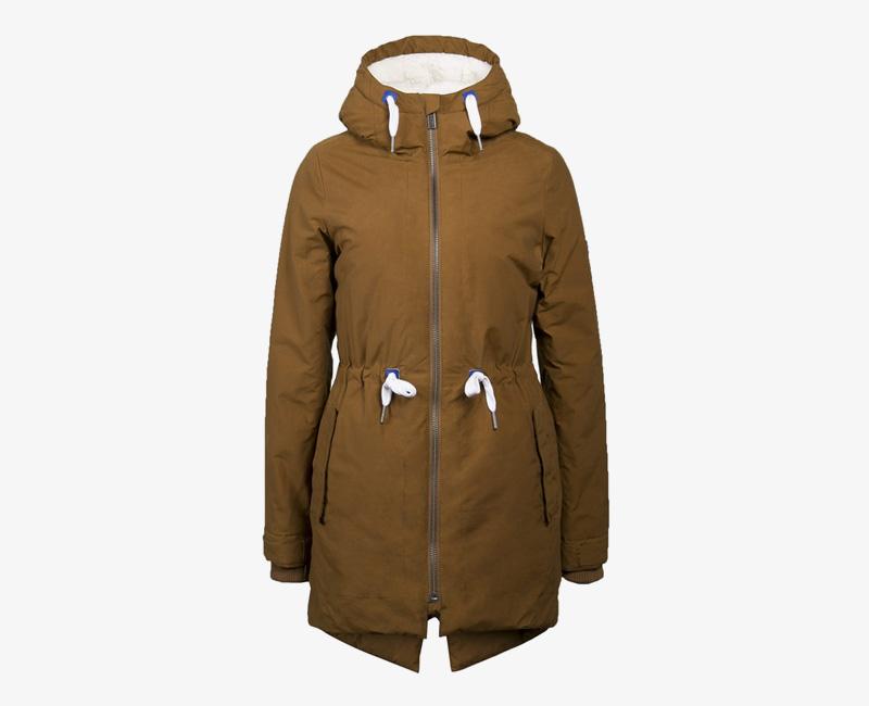 Mazine – Sensi – dámská dlouhá zimní bunda s kapucí, s kožíškem, zimní parka, černá, hnědá | Dámské zimní bundy a parky