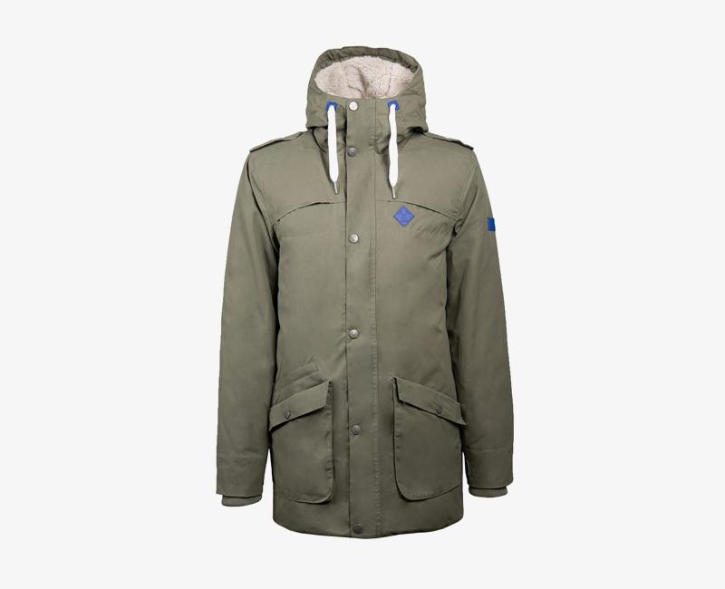 Pánská zimní bunda (parka) s kapucí s kožíškem — Mazine Civil — olivová zelená | Pánské zimní bundy a parky s kapucí