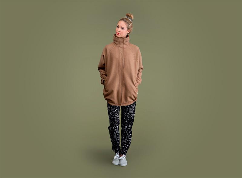 Wemoto – dámská podzimní bunda – hnědá, dámské černé kalhoty joggers se vzorem | Dámské podzimní/zimní oblečení