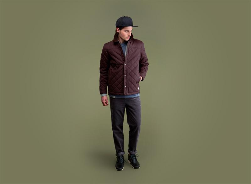Wemoto – pánská podzimní/zimní prošívaná bunda do pasu – bordó (vínová), kalhoty | Pánské podzimní/zimní oblečení