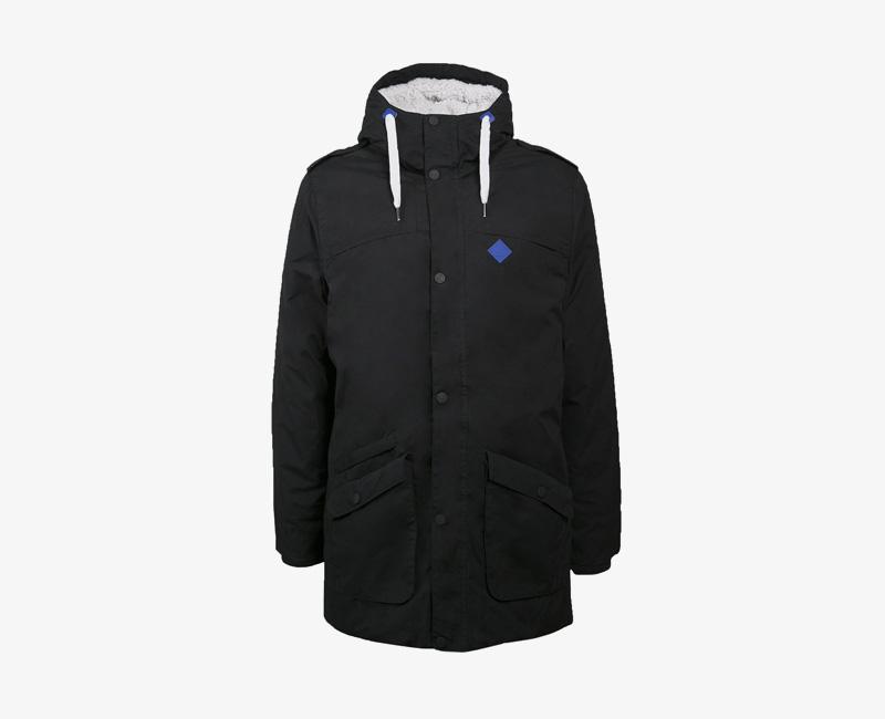 Pánská zimní bunda (parka) s kapucí s kožešinou — Mazine Civil — černá | Pánské zimní bundy a parky s kapucí