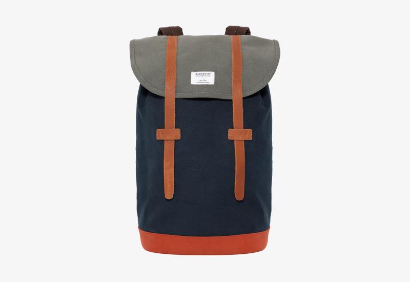 Plátěný batoh na záda – Sandqvist Stig – modrý, šedý – stylový elegantní batoh, dámský, pánský | Plátěné stylové batohy