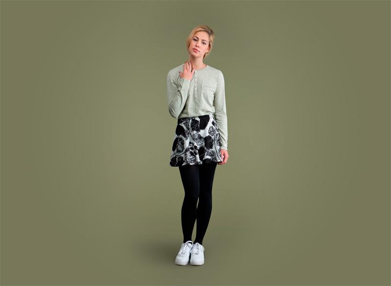 Wemoto – dámské tričko – dlouhý rukáv – světle zelené, sukně se vzorem | Dámské podzimní/zimní oblečení