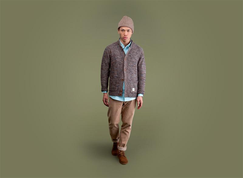 Wemoto – pánský vzorovaný svetr s knoflíky, béžové kalhoty | Pánské podzimní/zimní oblečení