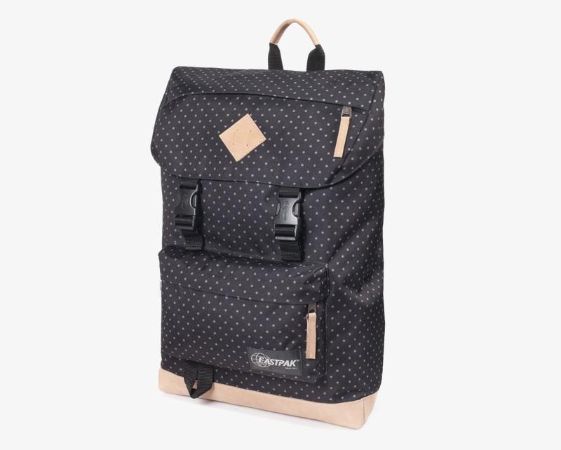 Eastpak Rowlo – plátěný batoh černý s bílými puntíky (s tečkami), stylový batoh | Plátěné batohy na záda