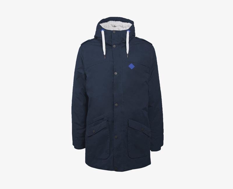 Pánská zimní bunda (parka) s kapucí s kožešinou — Mazine Civil — modrá | Pánské zimní bundy a parky s kapucí