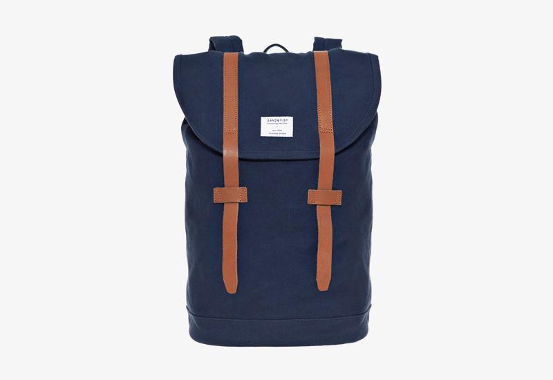 Plátěný batoh na záda – Sandqvist Stig – modrý – stylový elegantní batoh, dámský, pánský | Plátěné stylové batohy