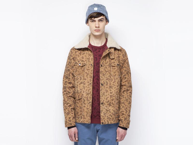 Ucon Acrobatics – pánská podzimní/zimní bunda do pasu, hnědá se vzorem | Pánské značkové oblečení