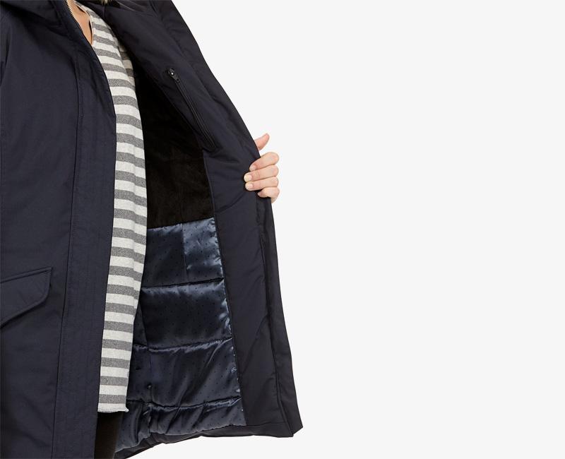 Elvine – dámská zimní parka s kapucí, zimní bunda s kapucí, tmavě modrá, Caterina | Dámské zimní bundy a parky