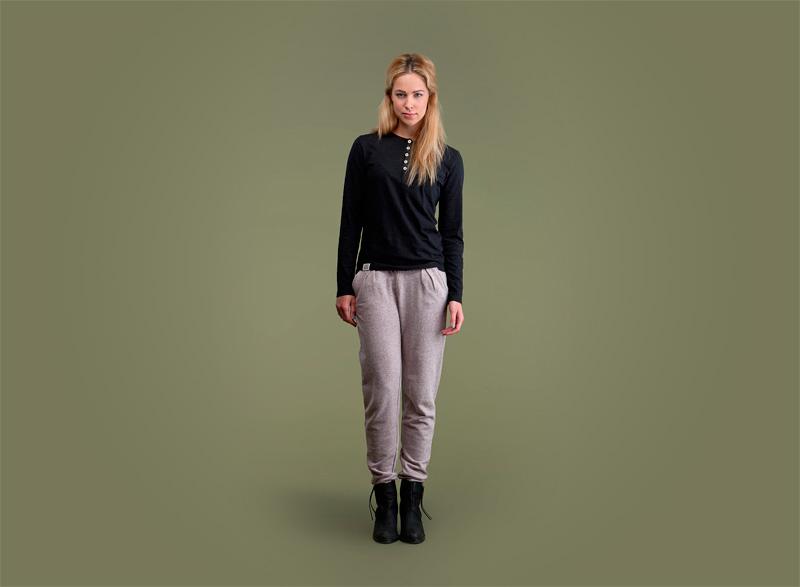 Wemoto – dámské tričko s knoflíčky – dlouhý rukáv – černé, dámské tepláky | Dámské podzimní/zimní oblečení