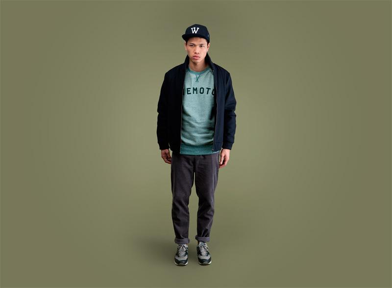 Wemoto – podzimní bomber, modrá bunda do pasu, bomber, zelená mikina, kalhoty | Pánské podzimní/zimní oblečení