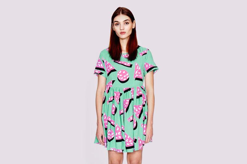 Lazy Oaf – dámské (dívčí) zelené podzimní/letní šaty s růžovými dortíky | Dámské oblečení