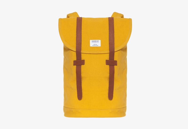 Plátěný batoh na záda – Sandqvist Stig – žlutý – stylový elegantní batoh, dámský, pánský | Plátěné stylové batohy