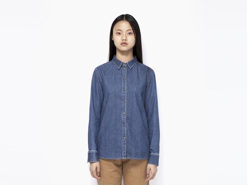 Ucon Acrobatics – dámská jeansová (džínová) modrá košile s dlouhým rukávem | Dámské značkové oblečení
